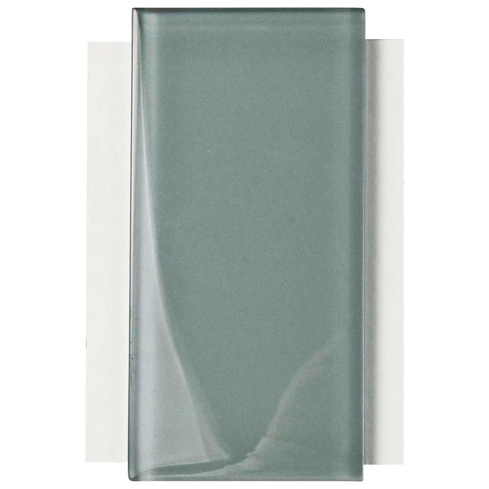 Merola Tile Tessera Subway Blue Smoke Glass Wall Tile 3