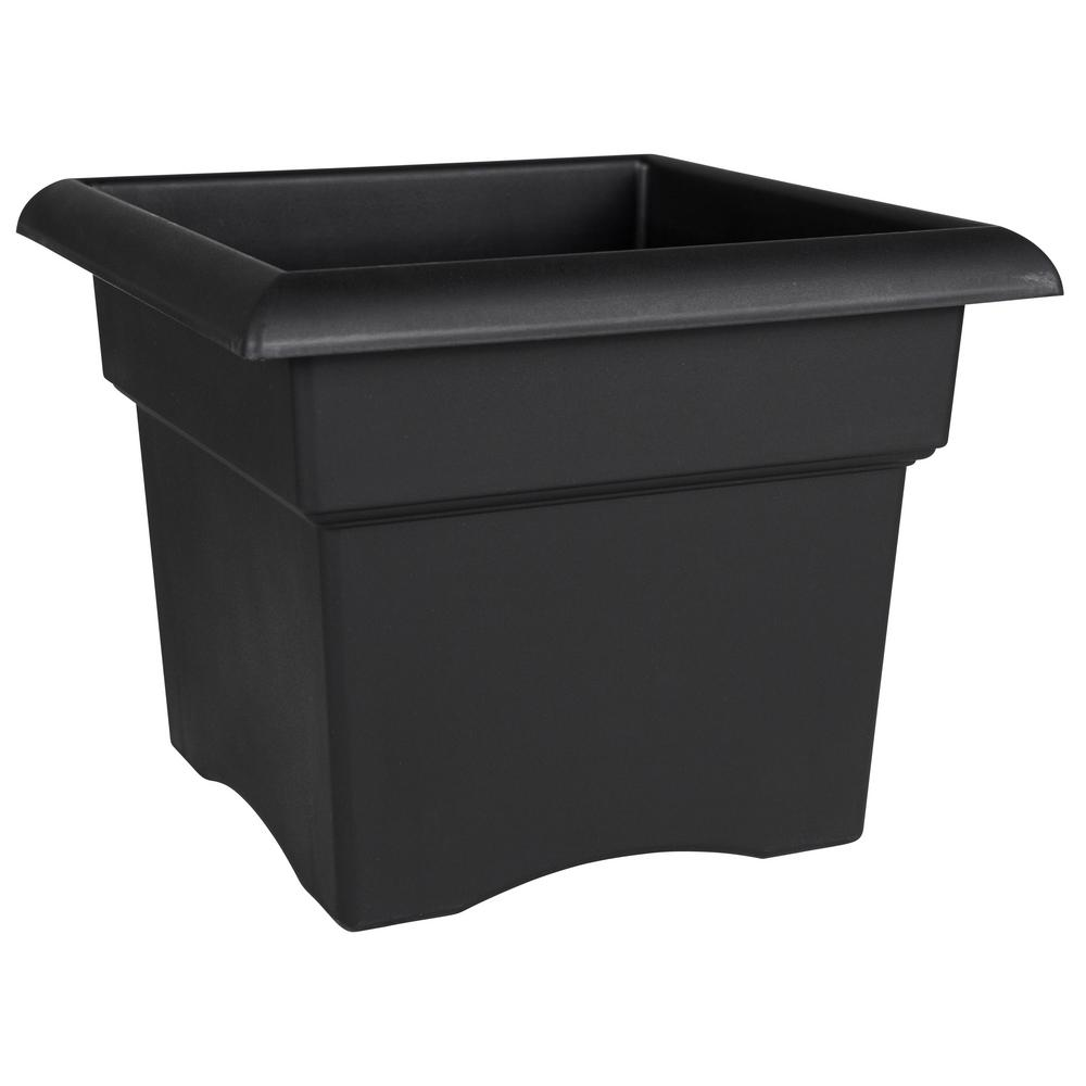 Veranda 14 in. Black Plastic Deck Box Planter