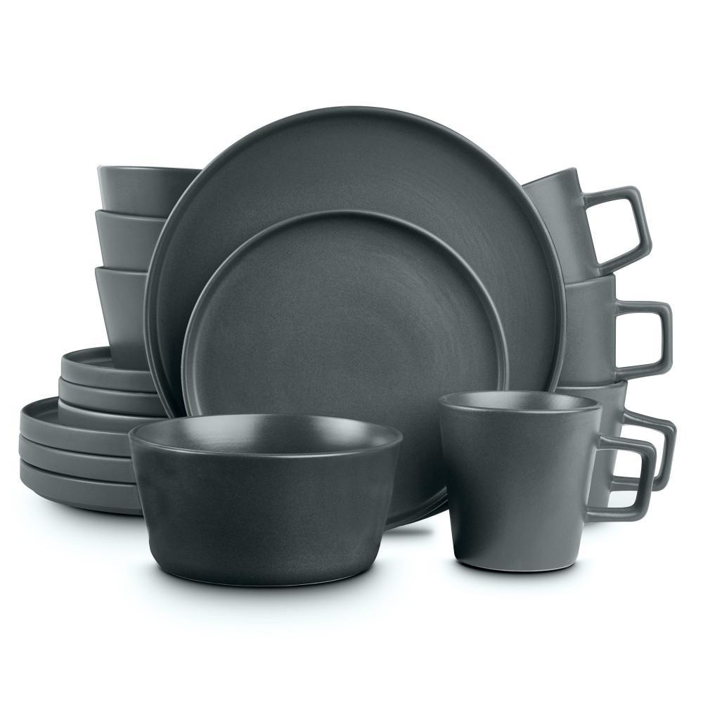 Stoneware 16-Piece Modern Gray Matte Stoneware Dinnerware Set (Service for 4)