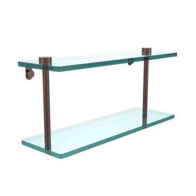 16 in. L x 8 in. H x 5 in. W 2-Tier Clear Glass Vanity Bathroom Shelf in Antique Copper