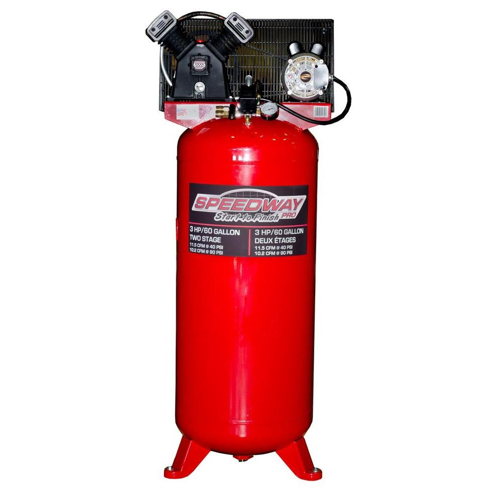 SPEEDWAY 60 gal. Single Stage Compressor Cast Iron Belt Drive with ASME Tank