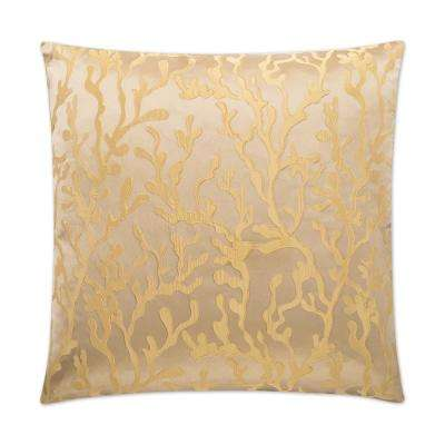Barrier Gold Feather Down 24 in. x 24 in. Standard Decorative Throw Pillow