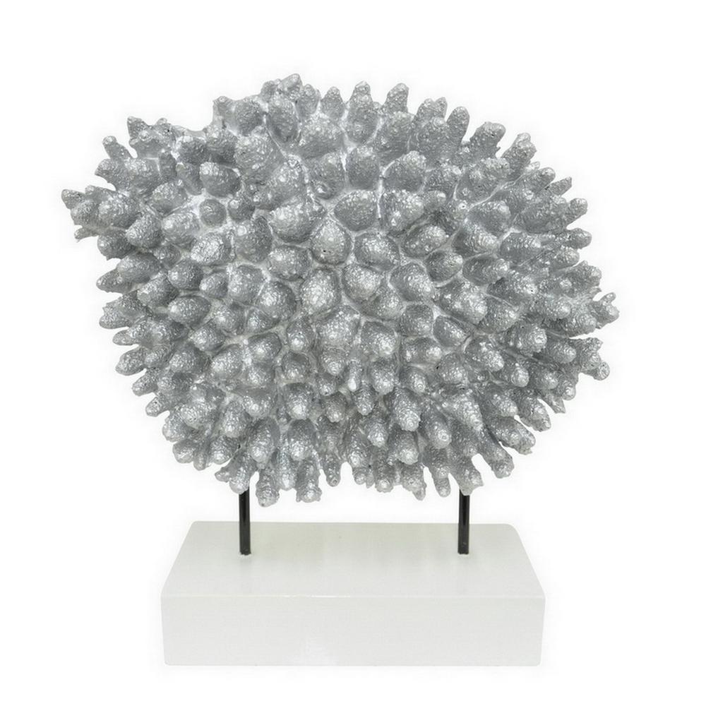 15 in. Silver in Silver Decorative Coral