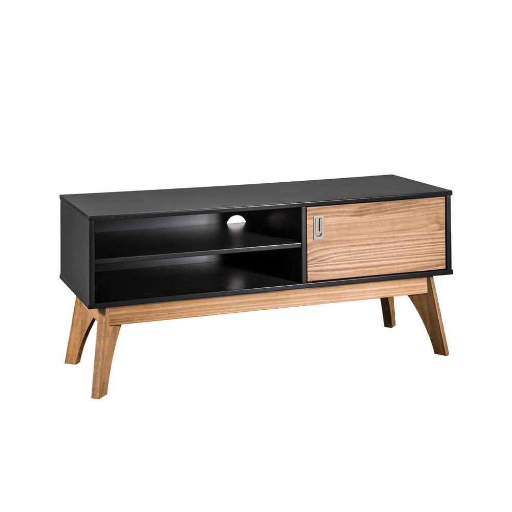 Jackie 43.3 in. Dark Grey and Natural Wood TV Stand