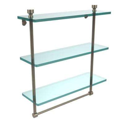 Foxtrot 16 in. L  x 18 in. H  x 5 in. W 3-Tier Clear Glass Bathroom Shelf with Towel Bar in Antique Pewter