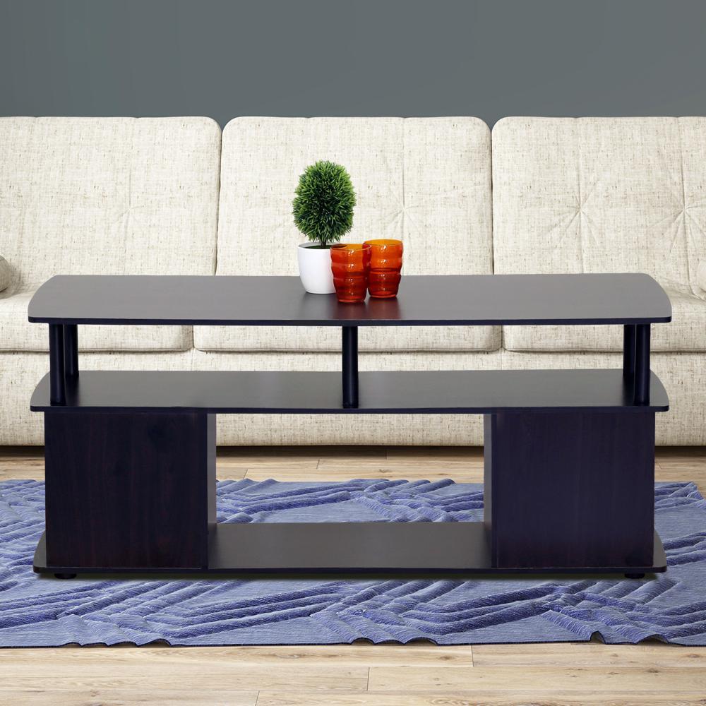 Coffee Table Set Home Depot: Furinno JAYA Blackwood Built-In Storage Coffee Table