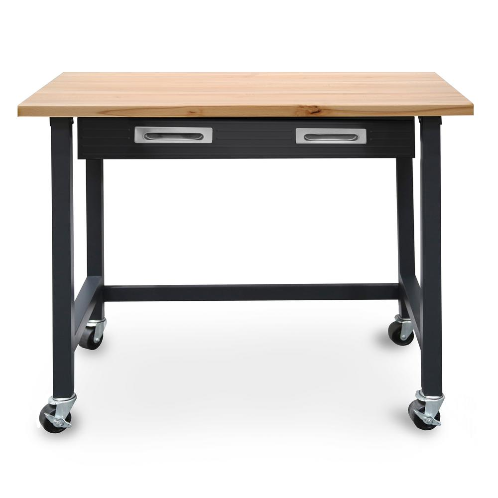 Admirable Seville Classics Ultragraphite Wood Top Workbench On Wheels Gmtry Best Dining Table And Chair Ideas Images Gmtryco