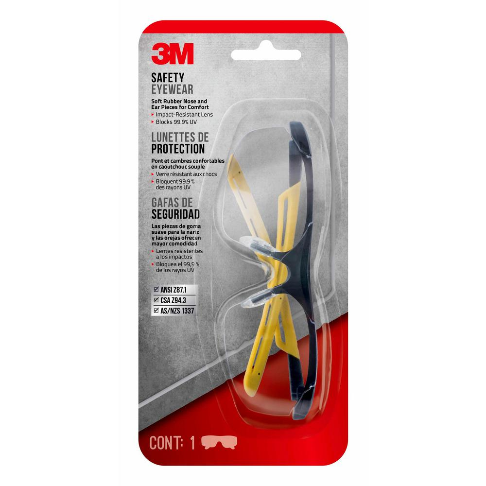 Safety Eyewear Glasses, Black Frame with Yellow Accents, Clear Anti Fog