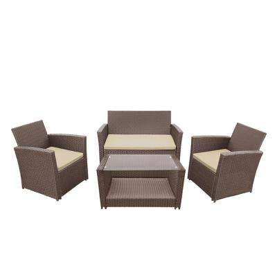 Lipari 4-Piece Rattan Furniture Set in Brown