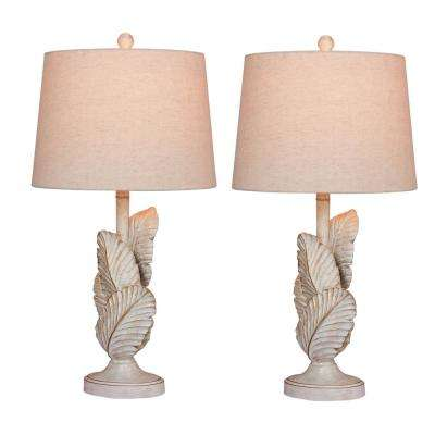 27.5 in. Antique White Island Palm Resin Table Lamps