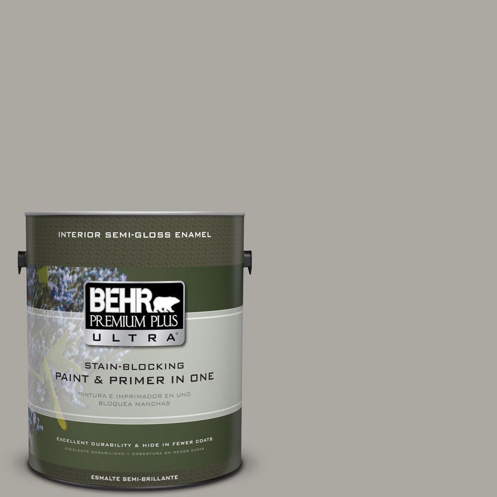 1 gal. #PPU24-10 Downtown Gray Semi-Gloss Enamel Interior Paint