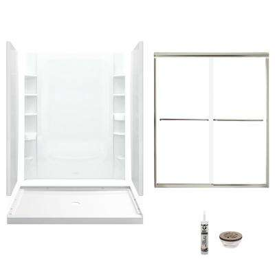 STORE+ 34 in. x 60 in. x 75.75 in. Center Drain and Backers Alcove Shower Kit in White and Brushed Nickel