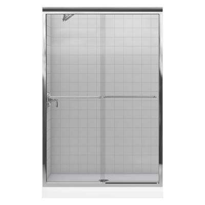 Fluence 43 in. x 70 in. Semi-Frameless Sliding Shower Door in Bright Polished Silver with Handle