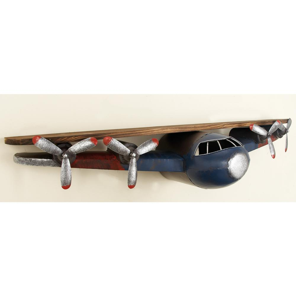 43 in w x 8 in h iron and wood vintage airplane wall shelf in h iron and wood vintage airplane wall shelf in distressed slate blue and natural brown 53288 the home depot amipublicfo Gallery