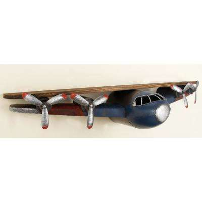 43 in. W x 8 in. H Iron and Wood Vintage Airplane Wall Shelf in Distressed Slate Blue and Natural Brown