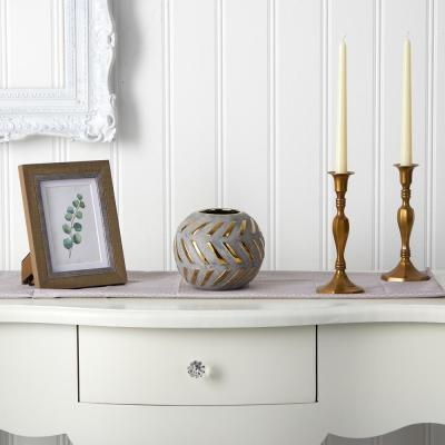 8 in. Regal Round Stone Vase with Gold Accents