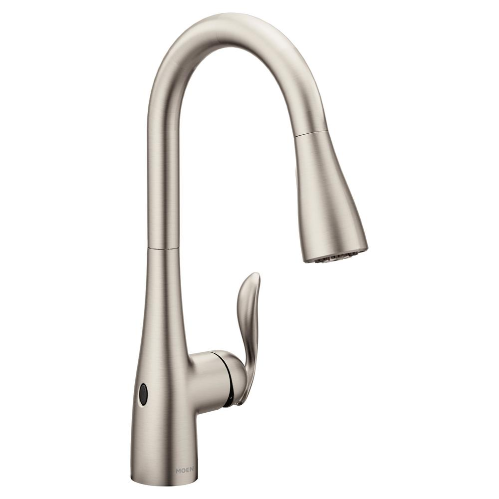 Moen Arbor Touchless Single Handle Pull Down Sprayer Kitchen Faucet With Motionsense Wave In Spot Resist Stainless