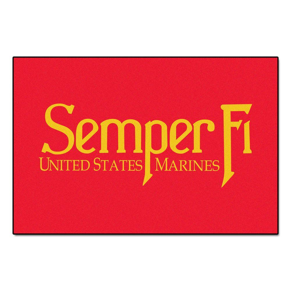 FANMATS Military Red 1 ft. 7 in. x 2 ft. 6 in. Rectangle Marine Corps Accent Rug