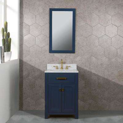 Madison 24 in. Bath Vanity in Monarch Blue with Marble Vanity Top in Carrara White with White Basin
