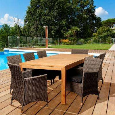 Fiishman 9-Piece Teak Rectangular Patio Dining Set with Grey Cushions