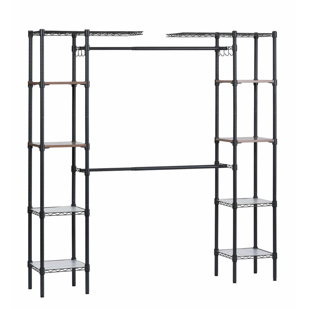 Muscle Rack 14 in. D x 55 in. W x 72 in. H Black Steel Garment Rack with Adjustable Shelves This Steel Garment Rack features a black finish over a sturdy steel frame, making this unit the perfect blend of style and functionality. Durable enough for the garage or inside, this design serves as both a shelving unit and garment rack. Multi-use unit for laundry room, closet or garage.
