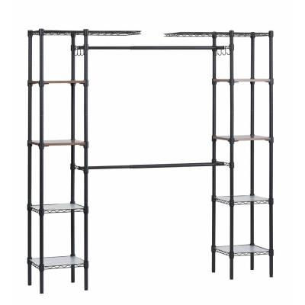 Black Steel Adjustable Shelf Clothes Rack (55 in. W x 72 in. H)