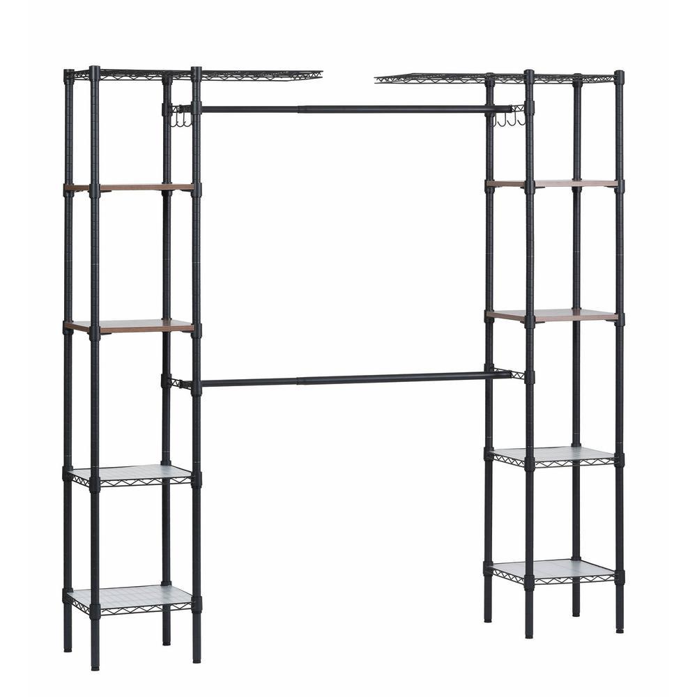 14 in. D x 55 in. W x 72 in. H Black Steel Garment Rack with Adjustable Shelves