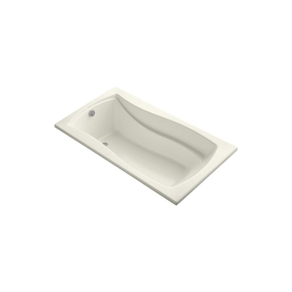 KOHLER Mariposa VibrAcoustic 5.5 ft. Rectangle Reversible Drain Soaking Tub in Biscuit