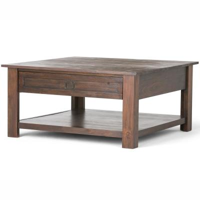 Monroe Solid Acacia Wood 38 in. Wide Square Rustic Square Coffee Table in Distressed Charcoal Brown