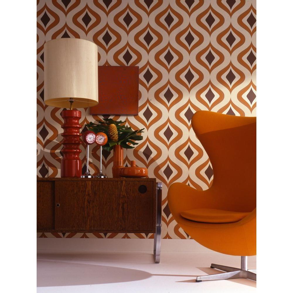 Awe Inspiring Graham Brown Trippy Orange Removable Wallpaper 15195 The Interior Design Ideas Skatsoteloinfo