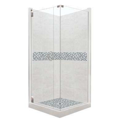Del Mar Grand Hinged 42 in. x 42 in. x 80 in. Left-Hand Corner Shower Kit in Natural Buff and Chrome Hardware