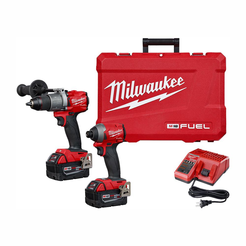 Milwaukee M18 FUEL 18-Volt Lithium-Ion Brushless Cordless Hammer Drill and Impact Driver Combo Kit (2-Tool) with Two 5Ah Batteries