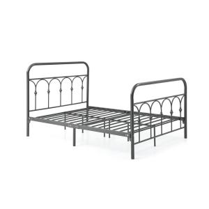 Complete Metal Charcoal Full Bed with Headboard, Footboard, Slats and Rails