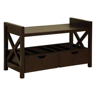 Cherry Finish Wood Shoe Storage Bench with Drawers