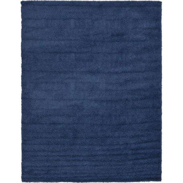 Solid Shag Navy Blue 9 ft. x 12 ft. Area Rug