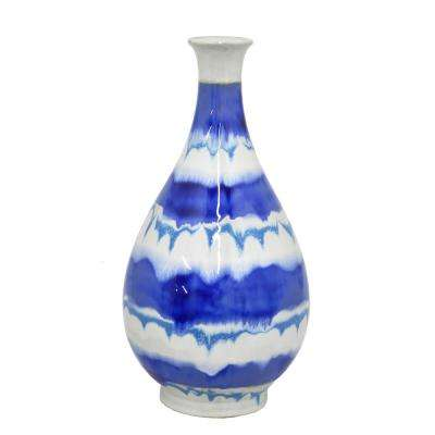 Decorative Blue and White Striped Ceramic Vase with Glossy