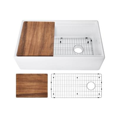 Fireclay 33 in. Single Bowl Farmhouse Apron Front Reversible Kitchen Sink in White with Cutting Board and Grid