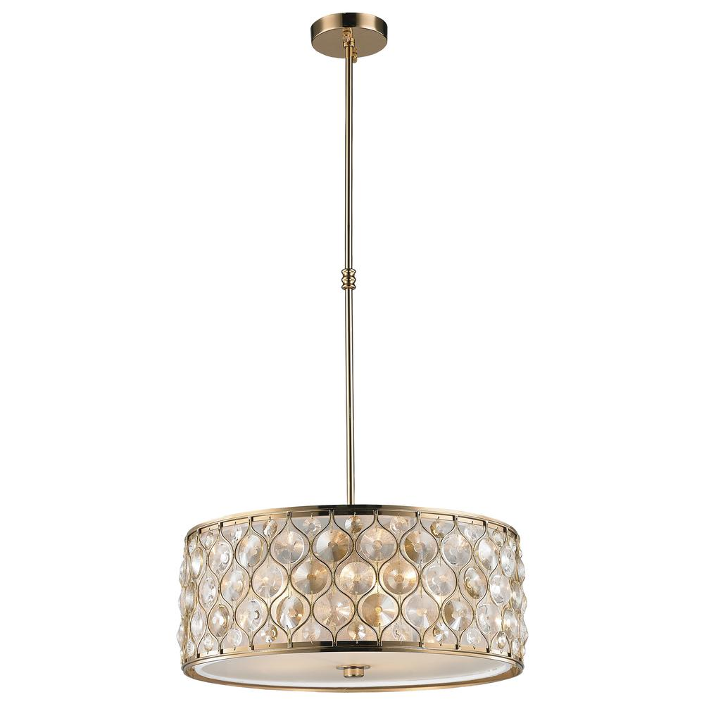 Worldwide Lighting Paris 1-Light Champagne with Clear and Golden Teak Crystal Pendant