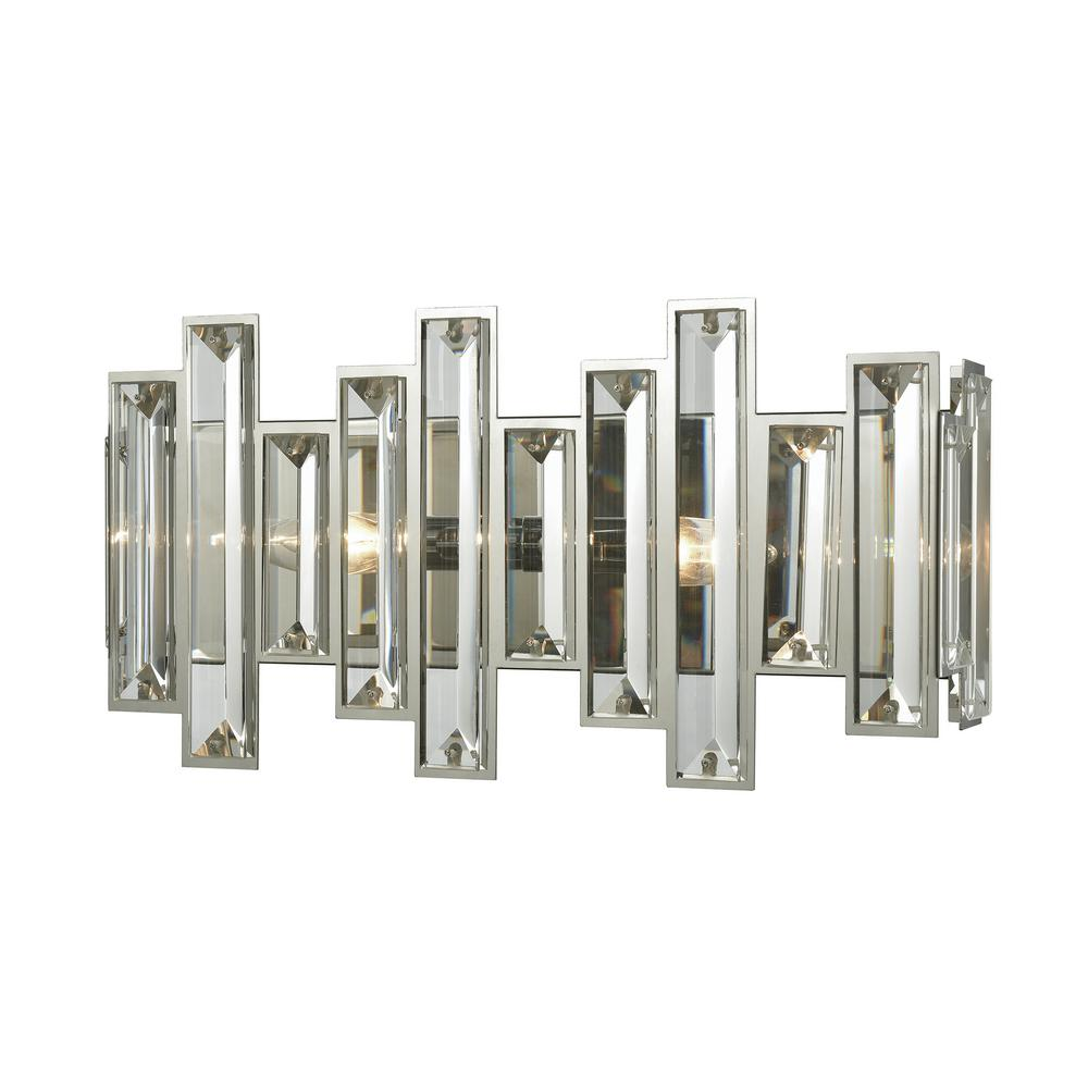 huge selection of fec06 12fb4 Titan Lighting Crystal Heights 2-Light Polished Chrome with Clear Crystal  Bath Light