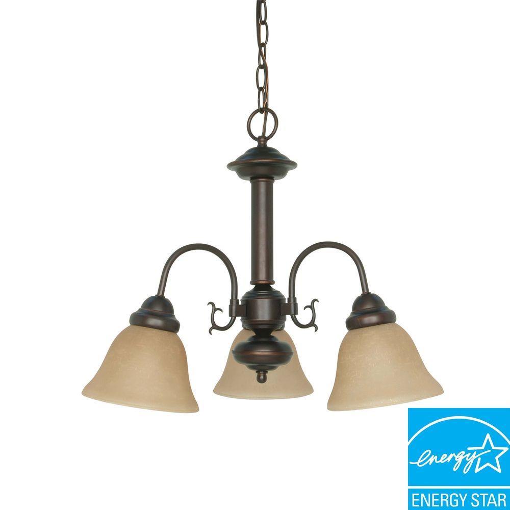 3-Light Mahogany Bronze Hanging Chandelier