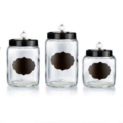 Glass Canisters with Black Lids (Set of 3)