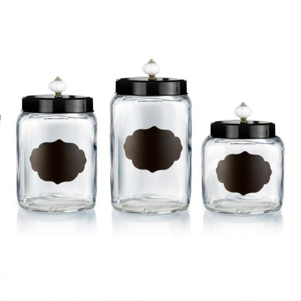 Incroyable Style Setter Glass Canisters With Black Lids (Set Of 3)