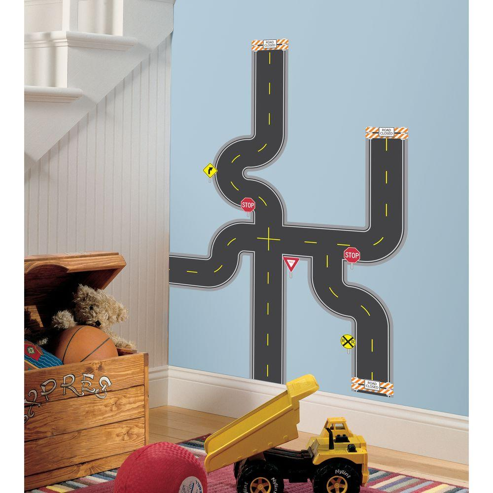 RoomMates 41.5 in. x 31 in. Build-A-Road Peel & Stick Wall Decal