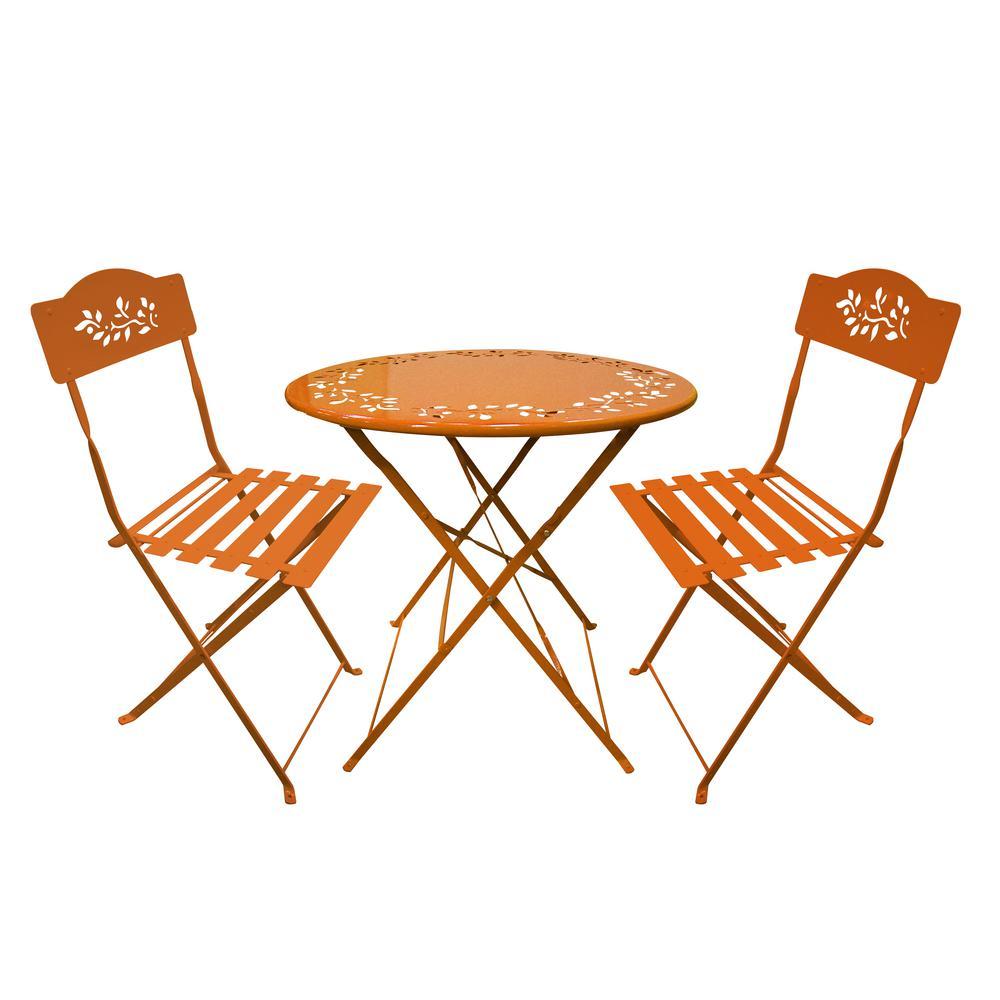 Excellent Alpine Corporation Orange 3 Piece Metal Chairs Outdoor Bistro Set 1 Round Table And 2 Chairs Spiritservingveterans Wood Chair Design Ideas Spiritservingveteransorg