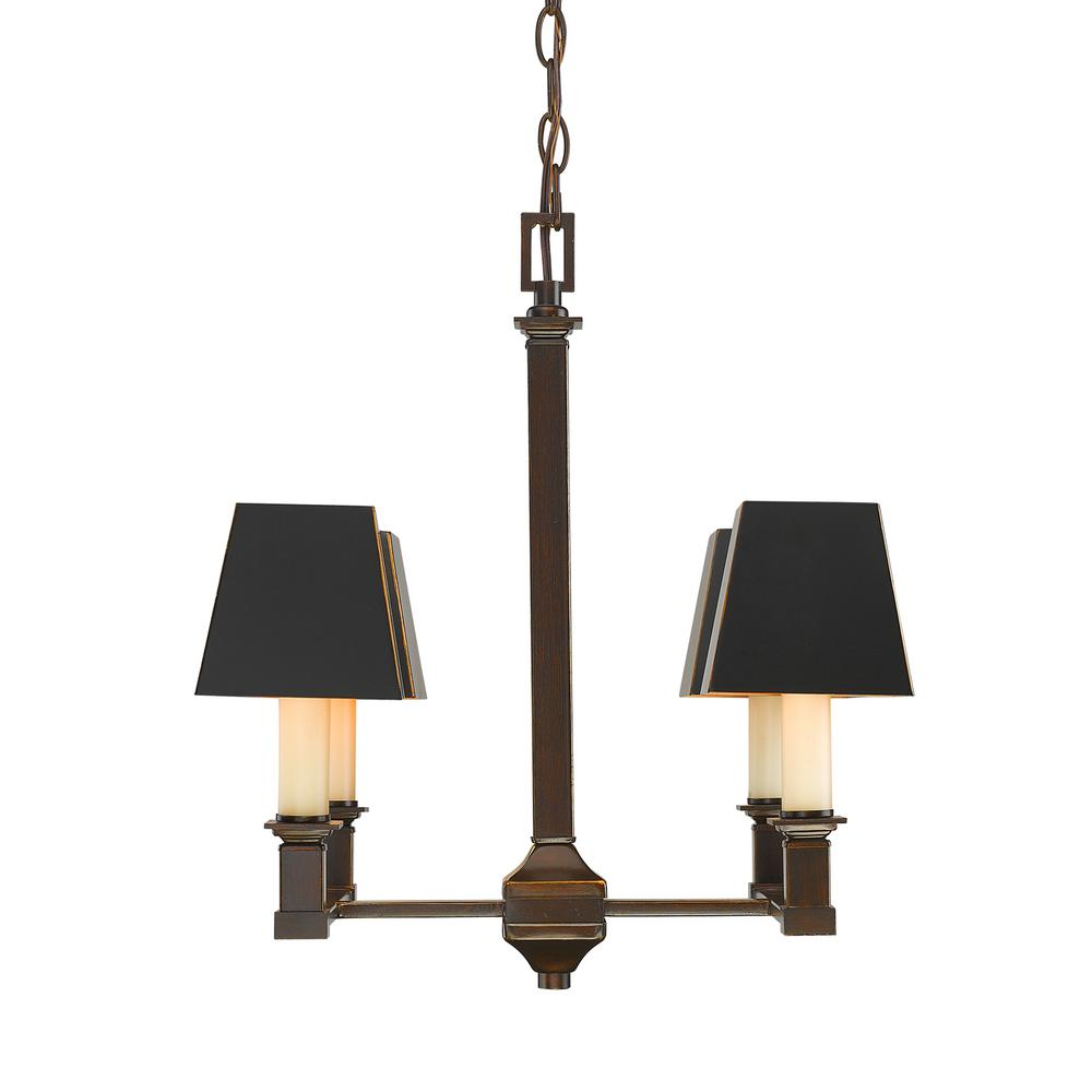 Bradley 4-Light Cordoban Bronze Chandelier with Black Metal Shades