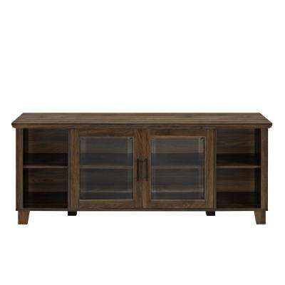 Columbus Dark Walnut TV Stand with Middle Doors