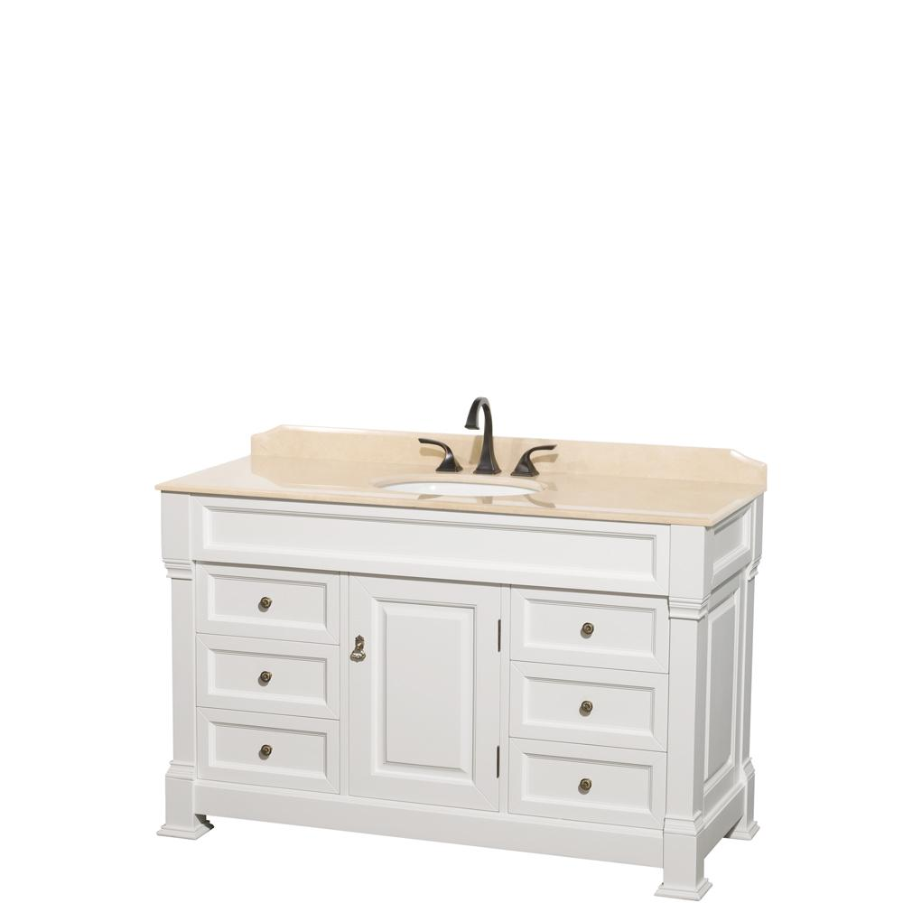 Wyndham Collection Andover 55 in. W x 23 in. D Bath Vanity in White with Marble Vanity Top in Ivory with White Basin