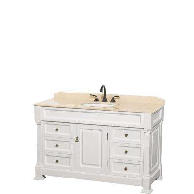 Andover 55 in. W x 23 in. D Bath Vanity in White with Marble Vanity Top in Ivory with White Basin