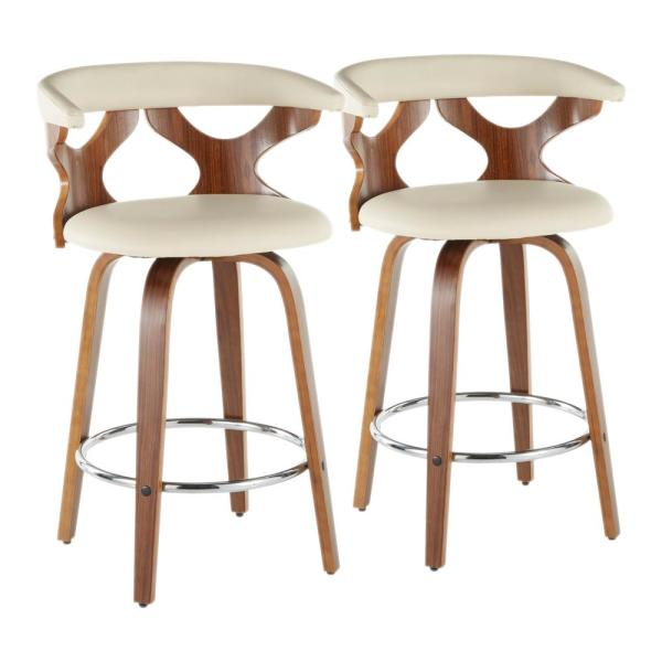 Gardenia 26 in. Walnut and Cream Fabric Counter Stool (Set of 2)