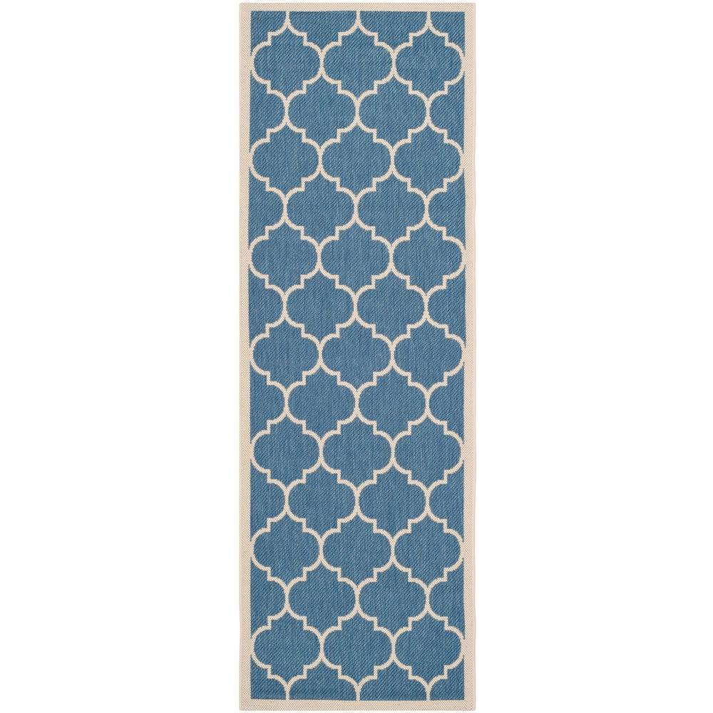 Safavieh Courtyard Blue/Beige 2 ft. 3 in. x 14 ft. Indoor/Outdoor Runner